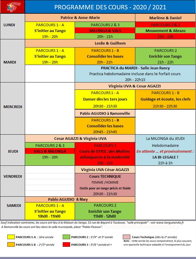 Programme des cours - TANGUEANDO saison 2020-21